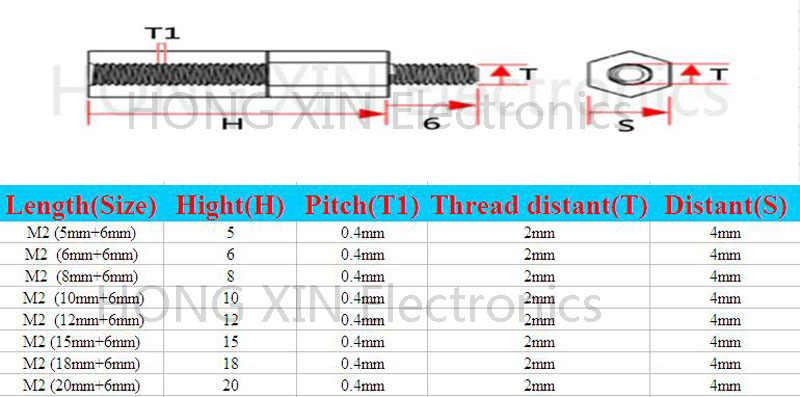 M2 * 5/6/8/10/12/15/18/20 + 6 1 pz Nero nylon Standoff Spacer Standard M2 Maschio-Femmina 5-20mm Supporti parti Kit di Riparazione