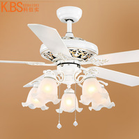 YOOK 2018 Led Fan Chandelier White Chandelier Wood Leaf Silent Chandelier E27 220V