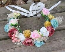 Colorful flower wedding Bridal head wreath flower Crown Headband Fabric Rose wreath Garland sea Decoration accessories wreath