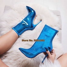 Women Autumn Plus Size Sexy Transparent Short Boots High Heel Pumps Point Toe Clear PVC Ankle  Shoes
