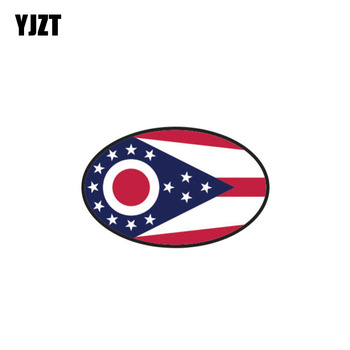YJZT 10.2CM*6.5CM Car Accessories Ohio State Oval Decal PVC Funny Car Sticker 6-0300 image