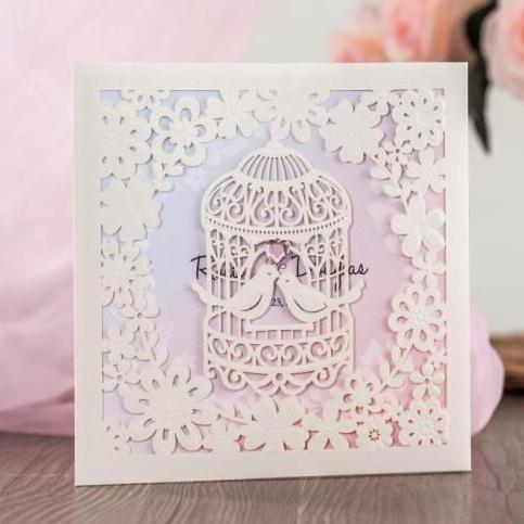Wishmade 50pcs wedding invitation cards kit pearl white hollow wishmade 50pcs wedding invitation cards kit pearl white hollow birdcage with gemstone for engagement party customizable stopboris Image collections