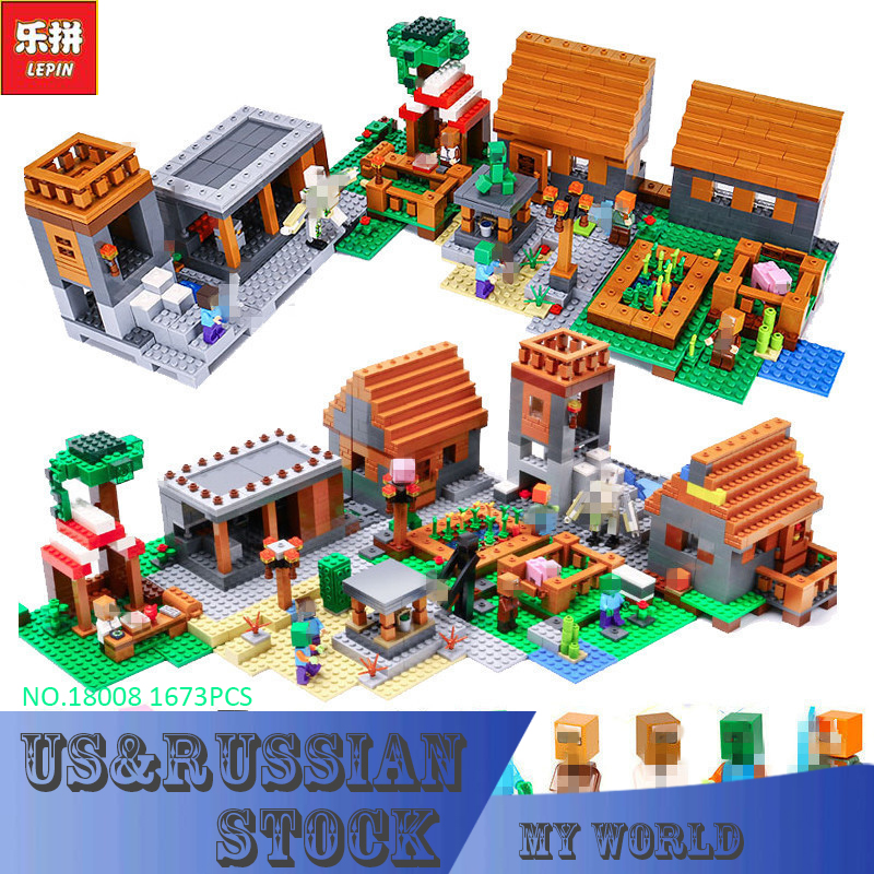 LEPIN 18008 My Worlds Series The Village Model Building Blocks Classic Compatible Bricks 21128 Toy for Children Birthday Gift lepin 18010 my world 1106pcs compatible building block my village bricks diy enlighten brinquedos birthday gift toys kids 21128