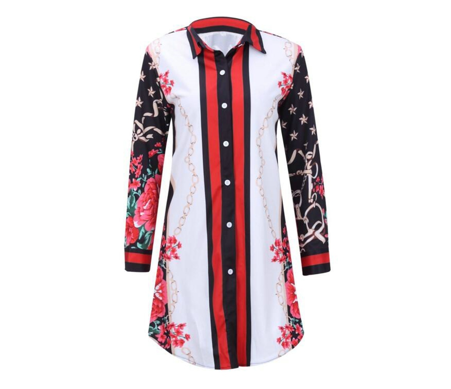 WAN XIANG YUAN Women Shirt 2017 Autumn Long Sleeve Chiffon Shirt White Print Long Blouse Shirt Plus Size Women Clothing 10124