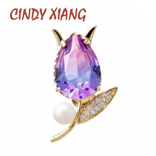CINDY XIANG Rainbow Cubic Zirconia Tulip Flower Collar Pin Copper Brooch Women And Men Unisex Brooch Small Fashion Suit Jewelry