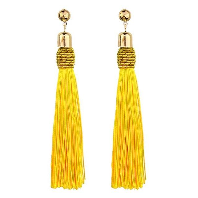6 Colors Tassel Fabric Rope Drop Earrings Bohemian Ethnic Long Fringe Dangle Earrings For Women Fashion Jewelry Accessories
