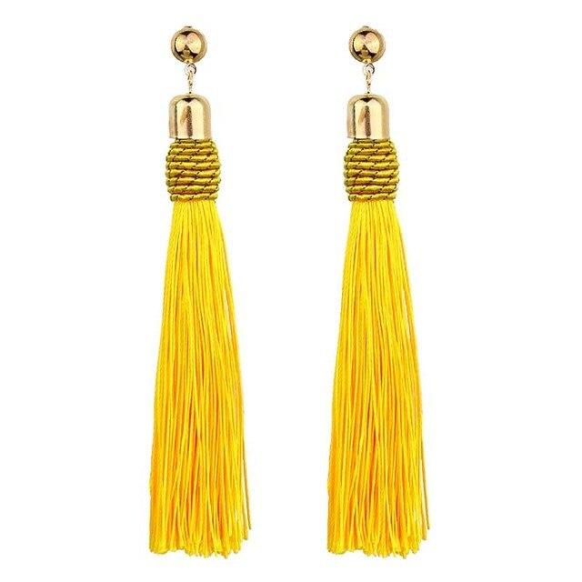 Ethnic Vintage Big Yellow Long Tassel Earrings Luxury Maxi Green Silk Thread Eth