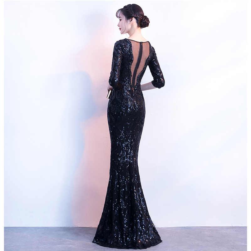 332e264e06 Aswomoye 2018 New Stylish Elegant Long Evening Dress Sexy V-Neck Party  Dresses Sequin Illusion Prom Dress robe de soiree