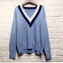 High quality womens V neck sweaters 2019 spring preppy style knitting Tops G060