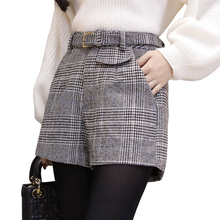 Woolen plaid shorts for women spring autumn outerwear wide leg high waist short mujer elegant office work wear ladies shorts