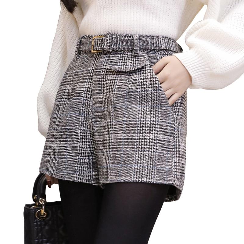 Woolen plaid shorts women spring autumn outerwear wide leg high waist short mujer office work wear ladies shorts woman shorts
