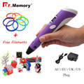 Dr.Memory Upgraded Version1.75mm ABS/PLA 3D Printer Pen With Free Filament 3D Pen Adapter Creative Gift for Kids Printer Pens