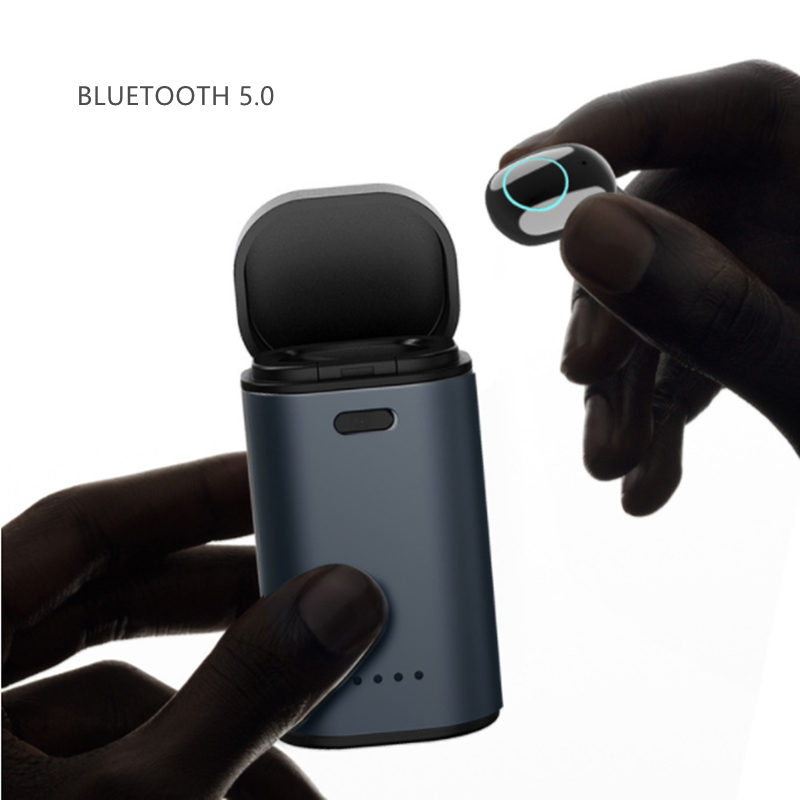 Bluetooth 5.0 Headset HD Earplug Earbud With Charge Storage Box Fingerprint Touch Control Single One HIFI Stereo Sound Earphones