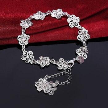 new arrive Beautiful bracelet noble flower chain fashion Wedding Party Silver cute lady nice women bracelet jewelry LH013 2