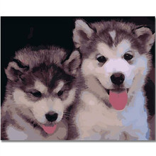 WEEN Two cute dogs Frameless DIY Oil Painting By Numbers, Digital Canvas For Living Room, Wall Art picture 40X50cm