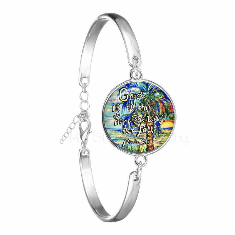 Klasik İncil Ayet Bilezik El Yapımı sanat resmi 18mm Cam Kubbe Charms Bilezik Psalm Alıntı Takı Hıristiyan Hediyeler