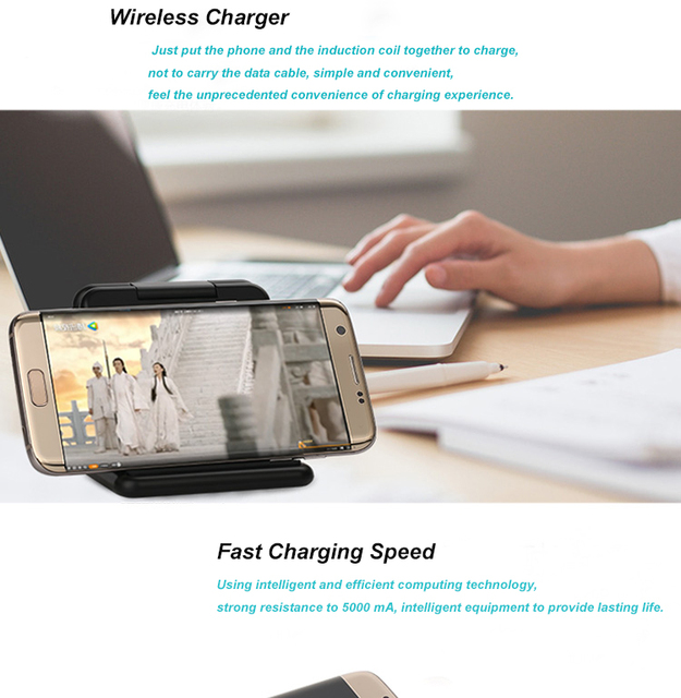 2017 Newest Foldable Qi Wireless Charger Charging Pad for Samsung Galaxy S6/S6 edge/Note 5/S7/S7 edge Stand Wireless Power bank
