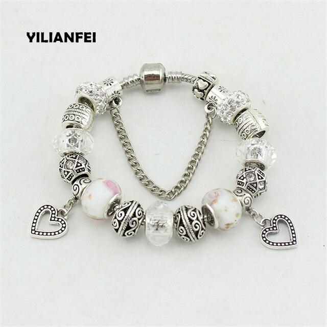 Yilianfei Peach Heart Pendant 4 Colour Chamilia Beads Cute Elegant Charm Bracelets Bangles For Women