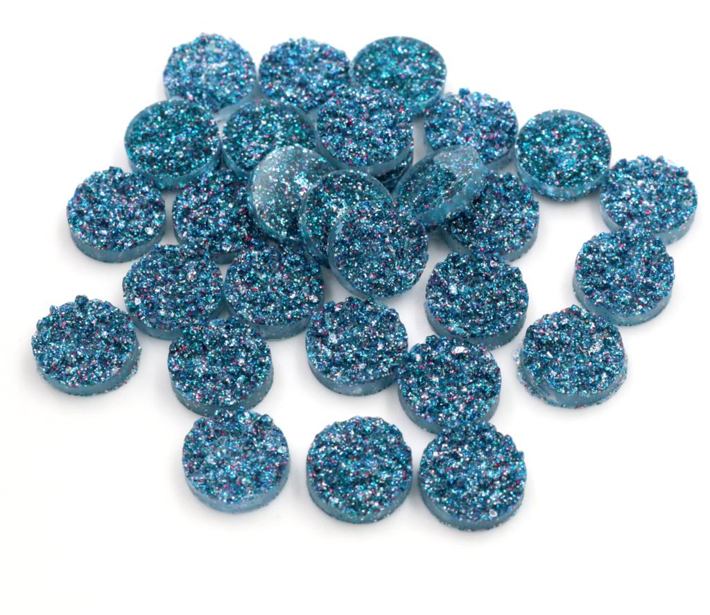 New Fashion 40pcs 12mm Lake Blue AB Natural Ore Style Flat Back Resin Cabochons For Bracelet Earrings Accessories-V3-28