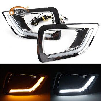OKEEN 12V Car DRL for Nissan Navara NP300 2015 2016 2017 2018 LED Daytime Running Lights White Turn Signal Lamp Yellow Fog Lamp