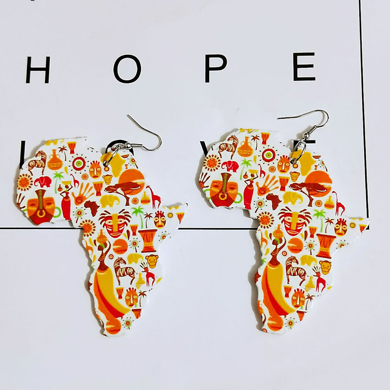 Laser Cut Wood Africa Map Colorful Animal Painting Geometric Tribal Earrings Vintage Bohemia African Wooden DIY Party Jewelry in Drop Earrings from Jewelry Accessories