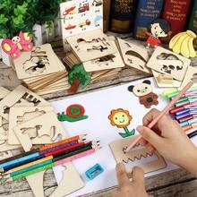 lapsed joonistamine mänguasjad koos markeritega Beebi mänguasi puidust värvimislaud Lapsed Loovad Doodles Template Early Educational Toy uus