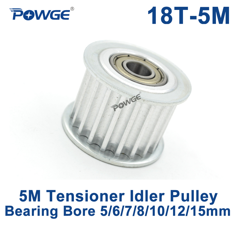 POWGE 18 Teeth 5M Idler Pulley Tensioner Wheel Bore 5/6/7/8/10/12/15mm with Bearing Guide synchronous pulley HTD5M 18teeth 18T lupulley 25t 5m idler pulley tensioner bore 5 6 7 8 10 12 15mm with bearing guide regulating synchronous htd5m pulley 25t