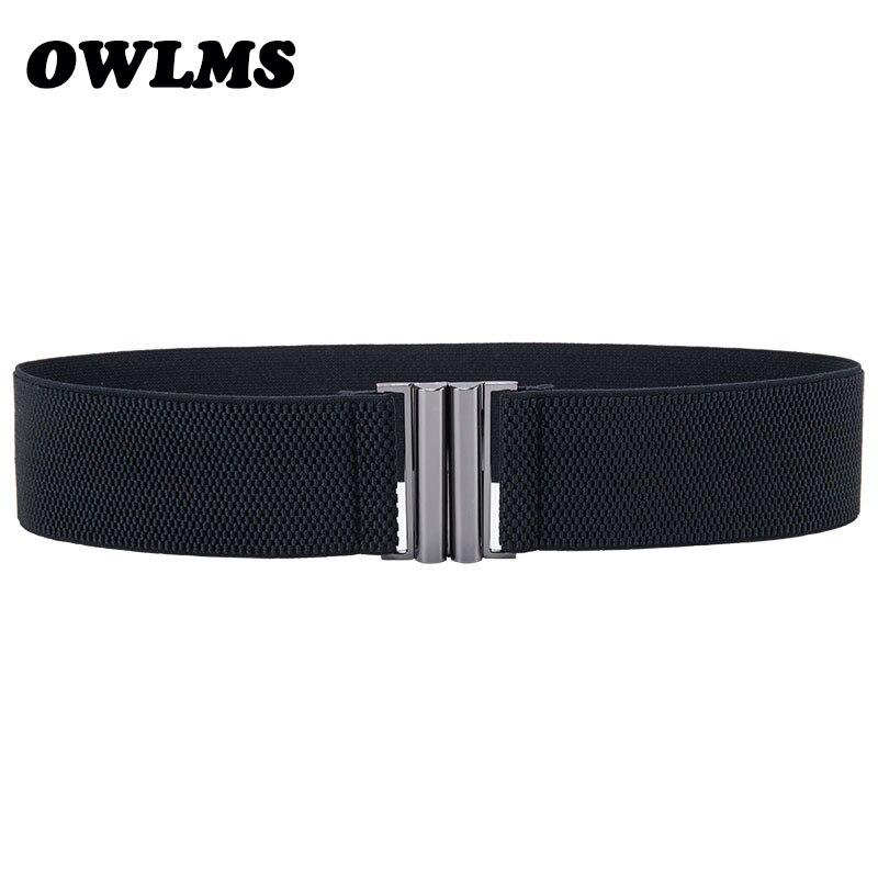 New Design Waistband Belts Women black Metal Belt Ladies Girls Stretchy Elastic Waist Belt Waistbands wide Belts For Women dress