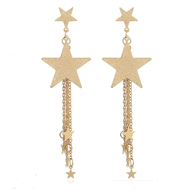 Meajoe Trendy Gold Silver Plated Star Drop Earring Charm Atmosphere Dangle Earrings For Women Jewelry Friend