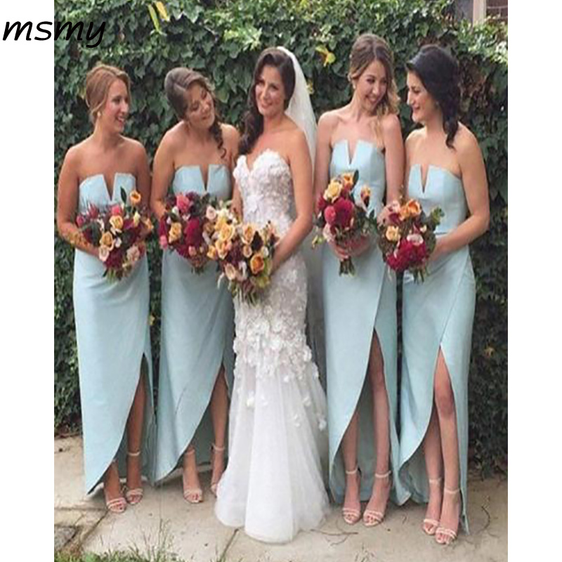 Simple A-Line   Bridesmaid   DressesSleeveless Strapless High Low Satin Cheap Long   Bridesmaid     Dresses   With Lace Custom Made