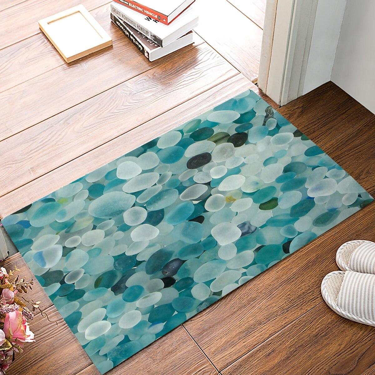 3D Pebble Stone Print Door Mats Kitchen Floor Bath Entryway Rug Mat ...