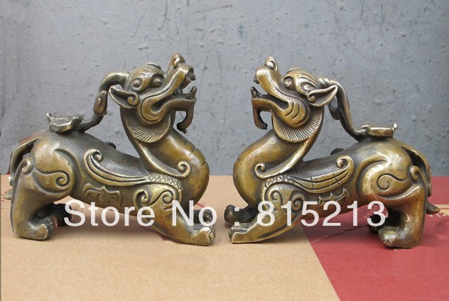 bi00336 6Small good looking Chinese pure Bronze Unicorn Kylin dragon sculpture pair