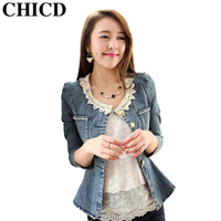 CHICD 2016 Autumn Women Casual Blue Slim Fashion Pocket Button Female Lace Collar Denim Jackets Jeans