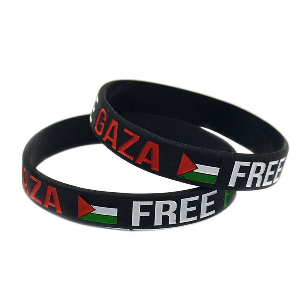 OBH 50PCS Save Gaza Free PALESTINE Silicone Bracelet Rubber Wristband with National Flag
