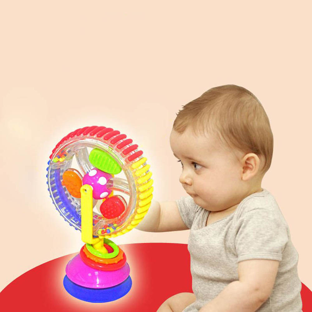 Baby Educational Baby Rattles Toy Model Rotating Stroller Dining Chair Suction Cups Plastic Windmill YH-17