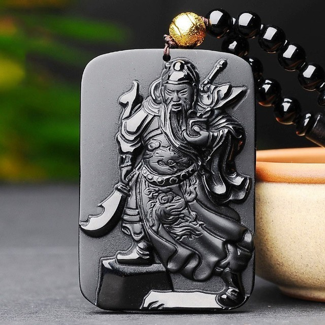 Guan Yu Warrior Obsidian Pendant