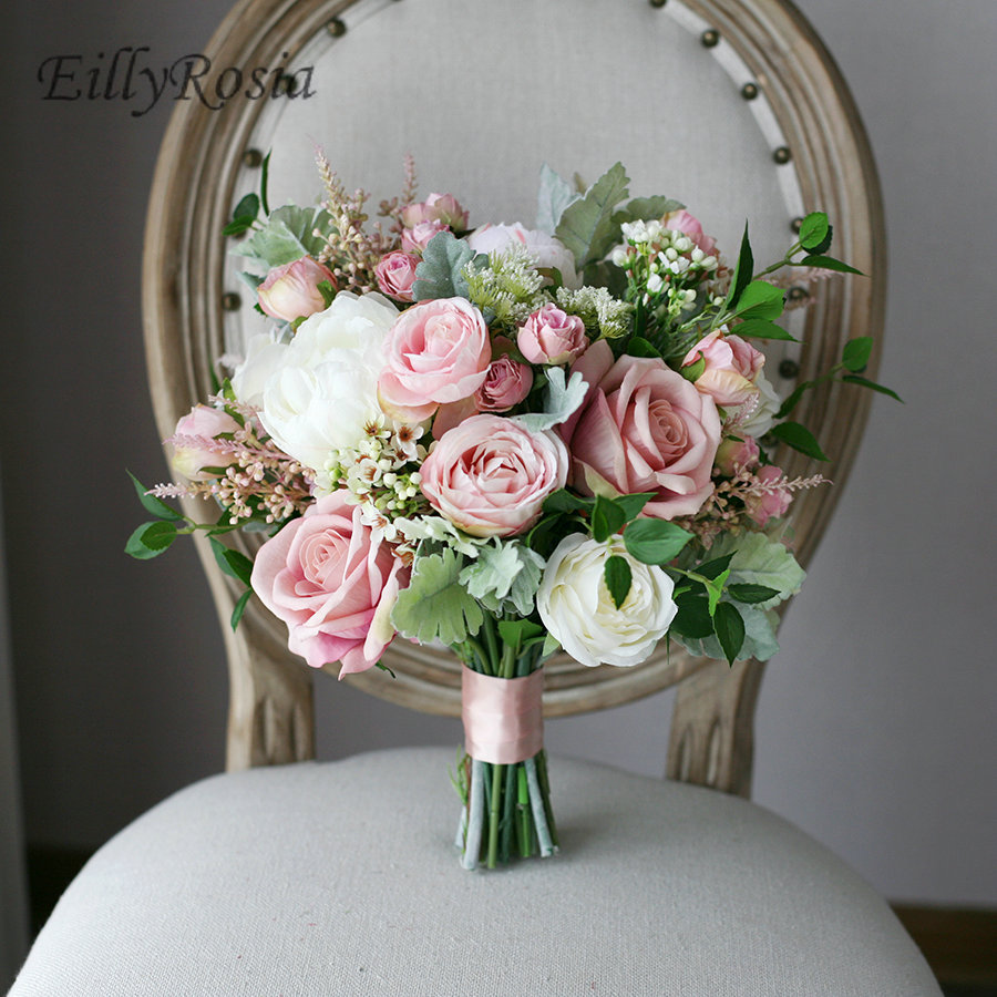Roses Wedding Flowers: European Vintage Bridal Bouquet White Blush Pink Roses