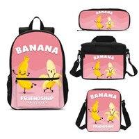 4Pcs/Set Portfolio School Bags For Boys Girls Cute Funny Cartoon Banana Letter 3D Printing Backpack Kids Bookbag Mochila Escolar