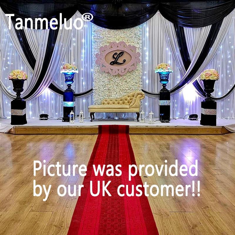 3*6 M sfondo di nozze swag 3 top festoni e 2 crossing design nero 24 e argento 68 NO sfondo bianco tenda CustomizedColor