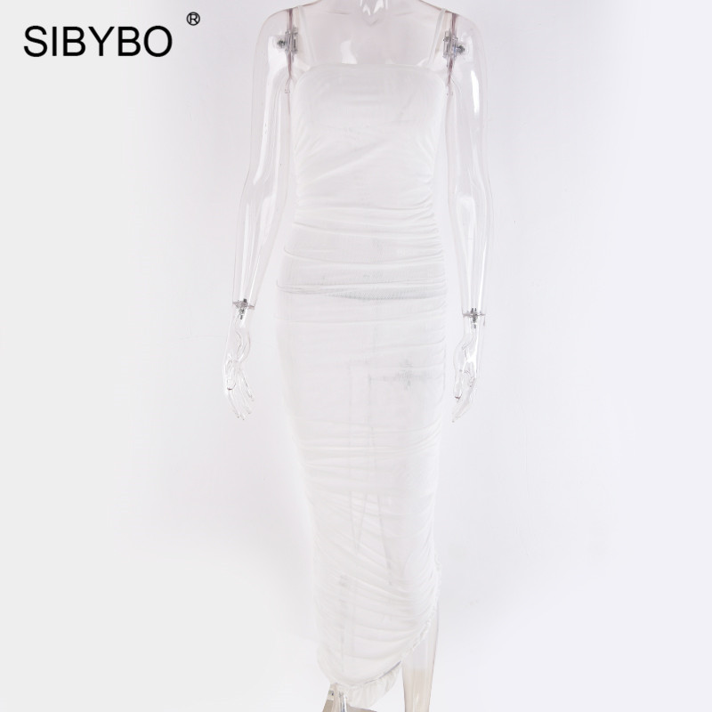 Sibybo Mesh Transparent Split Sexy Long Dress Party Spaghetti Strap Sleeveless Maxi Dress Summer Backless Bodycon Dress Women 18