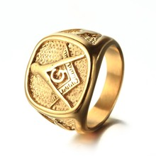 Cool Mens Gold Free Mason Freemasonry Masonic Ring 316L Stainless Steel Band Ring