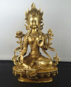 Tibetan Buddhism Copper Green Tara God Godness Kwan-yin Buddha Statue Sculpture Home Decoration 21cm