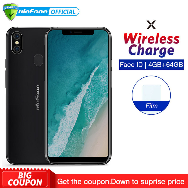 """Ulefone X Android 8.1 Mobile Phone 5.85"""" HD+ MT6763 Octa Core 4GB RAM 64GB ROM Face ID 3300mAh Wireless Charge Smartphone"""
