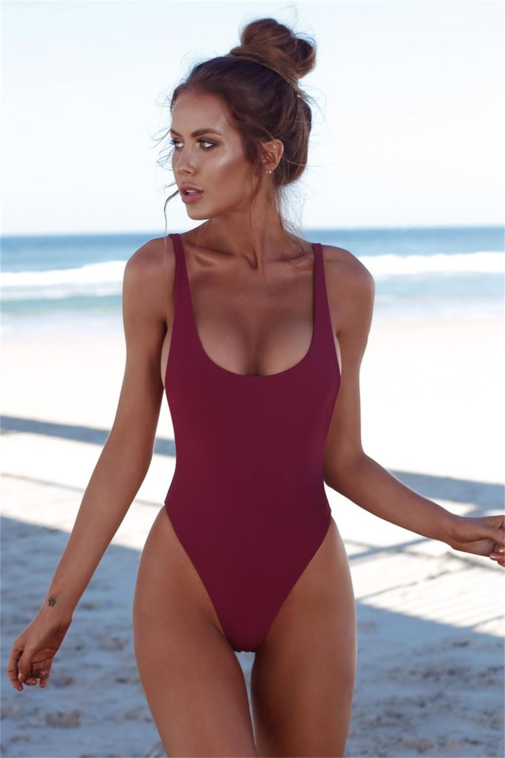 37e3860cc15d1 US $8.49 15% OFF|Thong Black 2018 Sexy One Piece Swimsuit Solid Female  Women Fused Swimwear Backless White Brazilian May Bather Monokini XL-in  Body ...