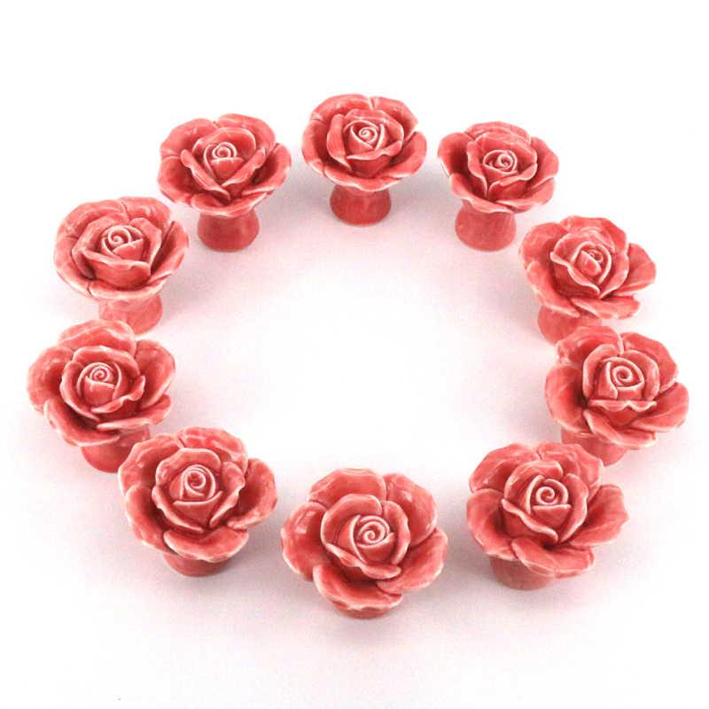 Pink Rose Knobs Dresser Knobs  Ceramic Drawer Knobs Pulls Handles  Unique Cabinet Knobs Pull Handle Hardware