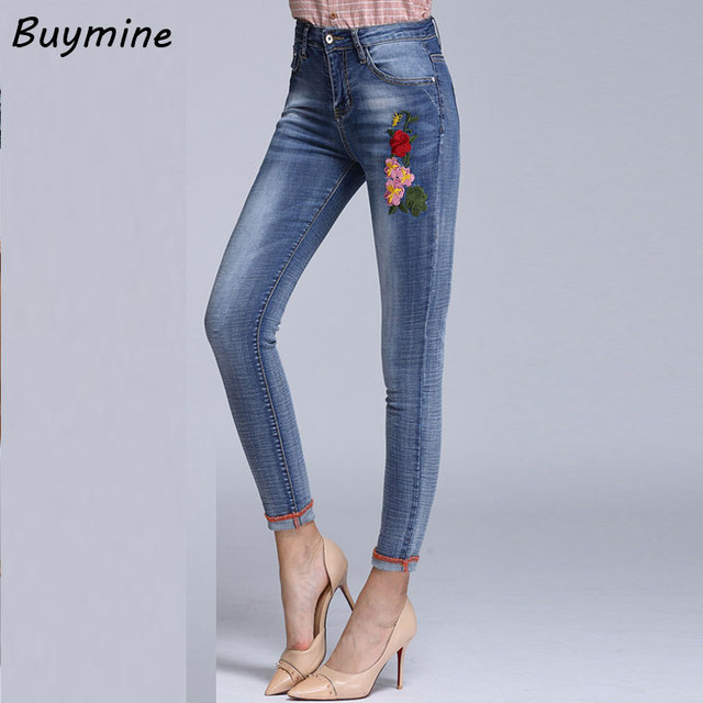 0a8dc181b6c High Waist Women Jeans Large Size Autumn Skinny Jeans 2017 Embroider  Flowers Blue Jeans Elastic Slim Denim Trousers Ankle Length