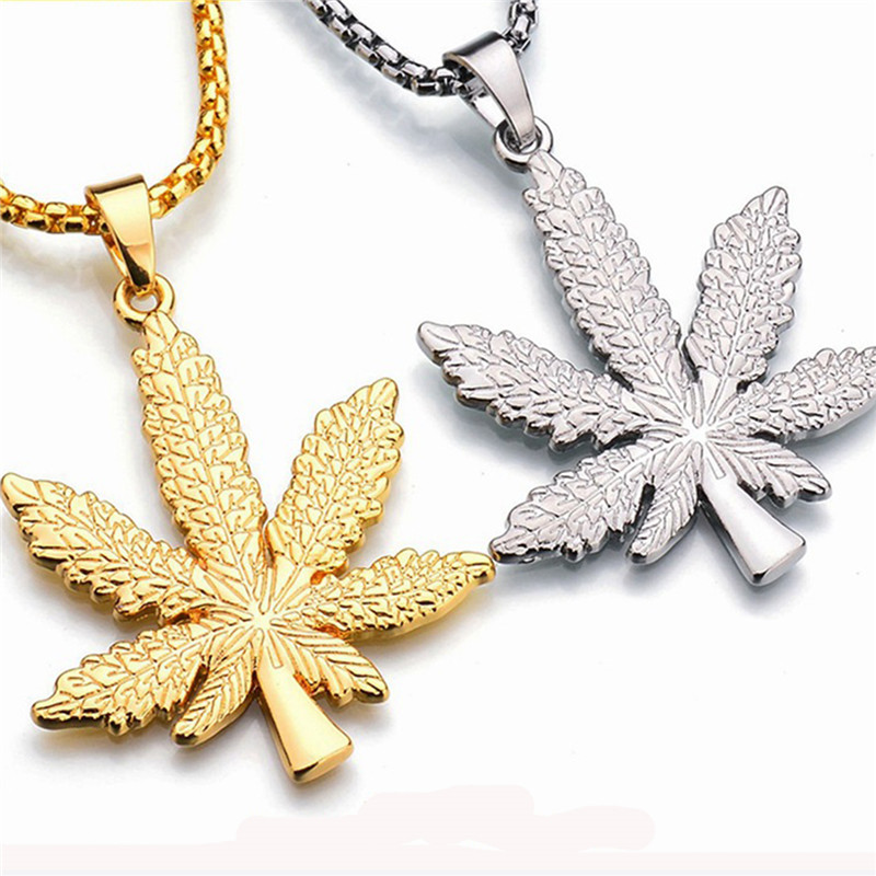 Gold Silver Plated <font><b>Cannabiss</b></font> Small Weed Herb Charm <font><b>Necklace</b></font> Maple Leaf Pendant <font><b>Necklace</b></font> Hip Hop Jewelry Accessories Wholesale image