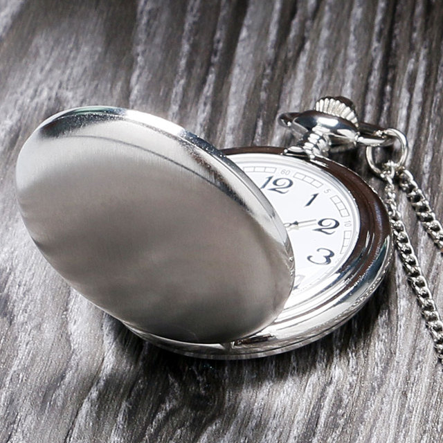 Silver Smooth Face Cover Pocket Watch Women Men Pendant Watches With Necklace Chain Back To School Gift