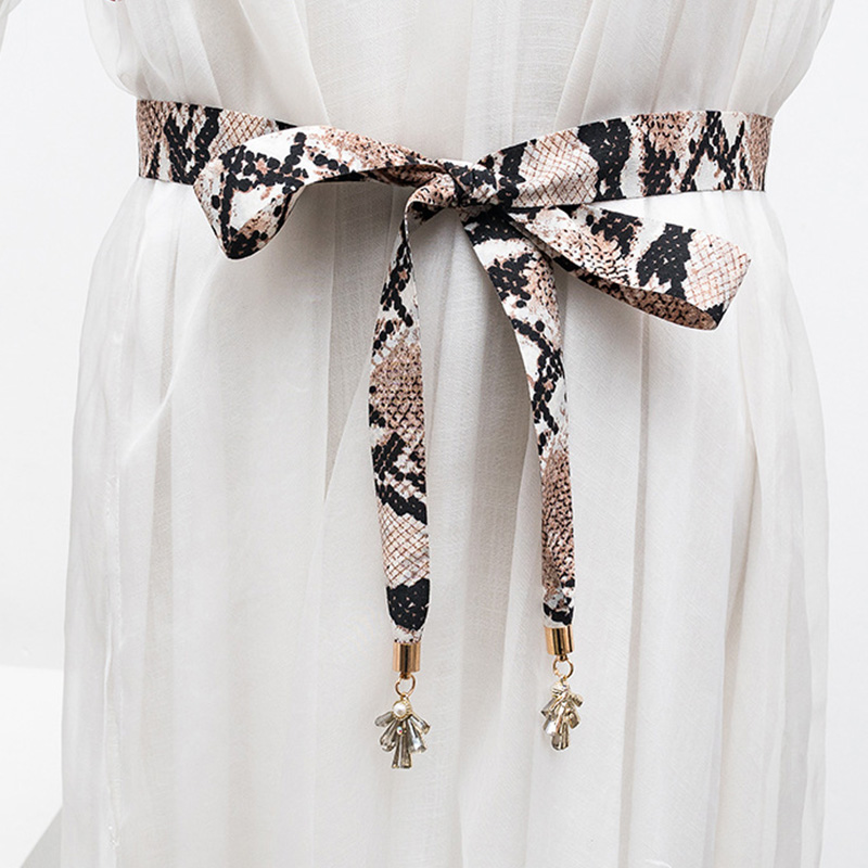 New snake grain lady matchs melting bowknot   belt   to match dress shirt cloth waist rope adornment Pearl diamond decoration