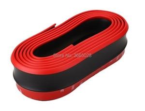 Красный черный самурайский Углеволокно 2,5 м автомобильный передний бампер Защита для губ резиновый разветвитель подтяжки подбородок защита для тела Боковая юбка спойлер